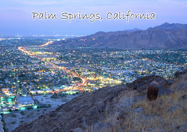 Palm Springs night postcard